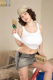 Busty Natural Karina Hart Working At Home