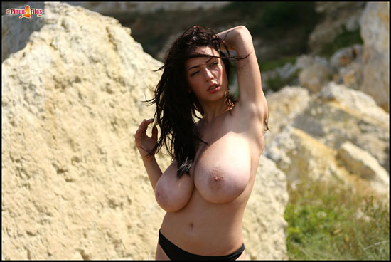 Big Tits On Beach Busty Merilyn Sakova at PinupFiles.com