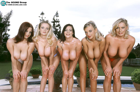 Five Big Titied Milfs Posing Outdoors for Scoreland.com
