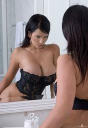 Denise Milani Fantastic Sexy Busty Lady In Bathroom DeniseMilani.com