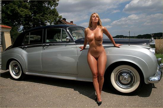 Modern Busty Katerina Hovorkova and Vintage Car PhotoDromm.com