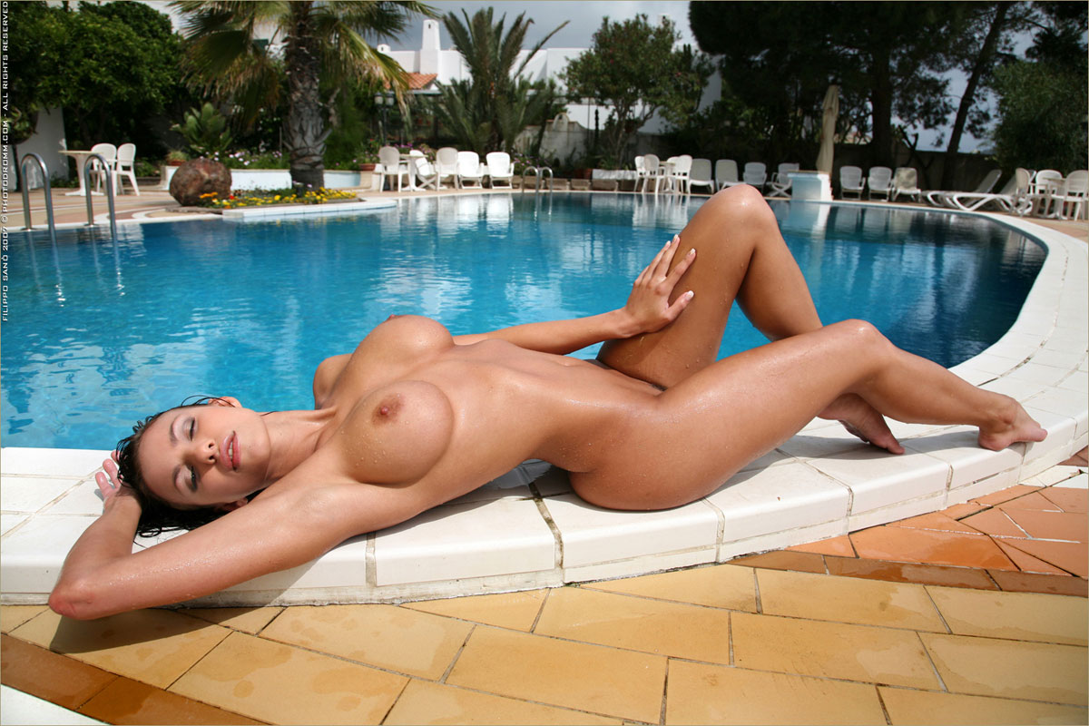sexy naked girl at billiard pool