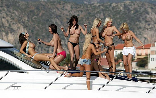 Michelle Marsh Lucy Pinder and others on a yacht