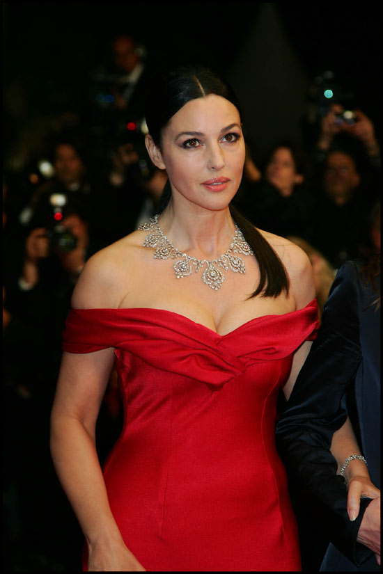 Pretty Italian actress Monica Bellucci posing with a great neckline dress