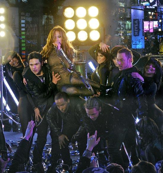 Jennifer Lopez black lace gown