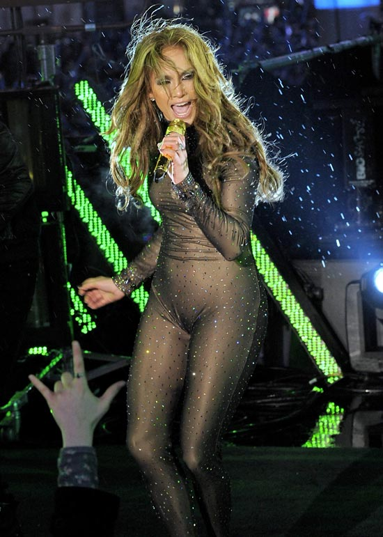 Jennifer Lopez black lace gown