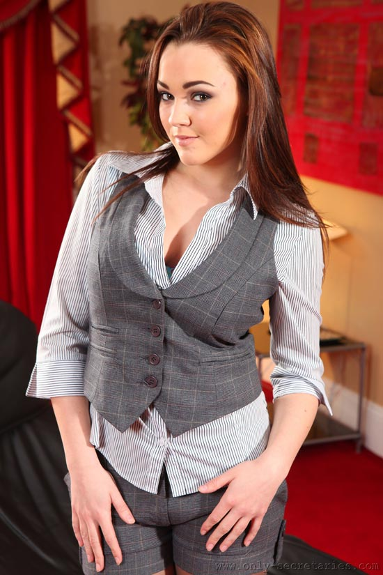 Sexy Busty Beauty Jodie Gasson In Grey Waistcoat and Shorts